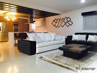 el interior Modern Living Room Wood White