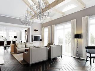 Klasycyzm lekko unowocześniony w domu w Ożarowie - Tissu. Klasyczny salon od TISSU Architecture Klasyczny