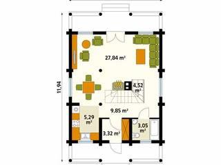 Rzut parteru projektu domu Konwalia bal: styl , w kategorii Ściany zaprojektowany przez Biuro Projektów MTM Styl - domywstylu.pl