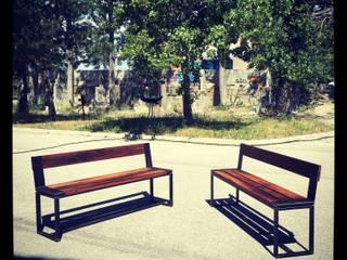 Réalisation d'une table et de banc en Bois de cuves de vin récup-éclaire (Thibaut Richard) Salle à mangerTabourets & bancs Bois massif