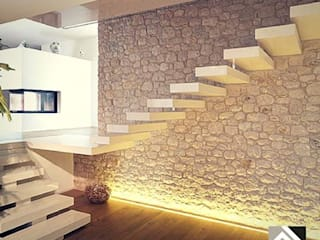 Grassi Pietre srl Modern corridor, hallway & stairs Marble White