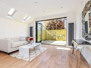 Lounge & ​Rear Bi-folding Doors—As Built: modern Living room by Arc 3 Architects & Chartered Surveyors