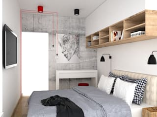 OES architekci Modern style bedroom Concrete White