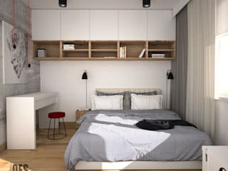 OES architekci Modern style bedroom Concrete Grey