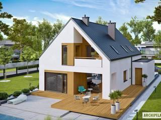 PROJEKT DOMU RIKO III G2 - pełna harmonia wnętrza z ogrodem! : styl , w kategorii Domy zaprojektowany przez Pracownia Projektowa ARCHIPELAG,Nowoczesny