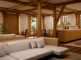Maisons de style  par RAJ Projetos de Arquitetura Ltda., Tropical
