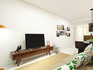 Reabilitação T1 - Porto: Salas de estar  por Atelier 12,Minimalista