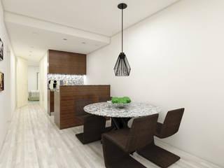 Reabilitação T1 - Porto: Salas de jantar  por Atelier 12,Minimalista