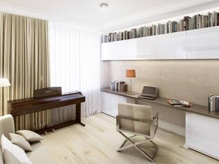Mieszkanie z nutą klasyki na warszawskich Bielanach - Tissu. Klasyczne domowe biuro i gabinet od TISSU Architecture Klasyczny