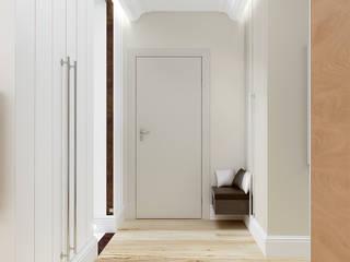 Mieszkanie z nutą klasyki na warszawskich Bielanach - Tissu. Klasyczny korytarz, przedpokój i schody od TISSU Architecture Klasyczny