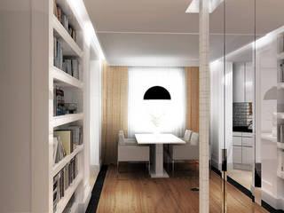 Apartament z nutą romantyzmu w Piastowie - Tissu. Klasyczny korytarz, przedpokój i schody od TISSU Architecture Klasyczny