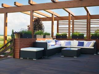 Modern balcony, veranda & terrace by Pracownia Projektowa Architektury Krajobrazu Januszówka Modern