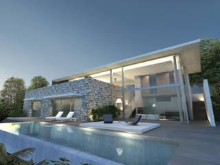 Maison A Piscine moderne par ARRIVETZ & BELLE Moderne
