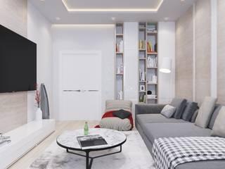 2ка в Москве для молодой семьи : Гостиная в . Автор – Ivantsov design studio