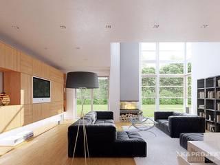 Ein Haus für sehr schmale Grundstücke:  Wohnzimmer von LK&Projekt GmbH