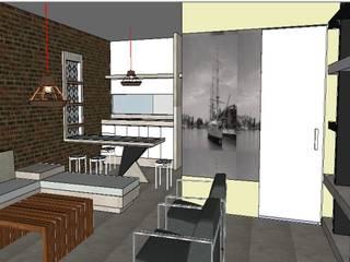 Edificio Bifamiliar Pon - Sala y Comedor: Salas / recibidores de estilo  por 1en1arquitectos