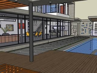 Exteriores de Casa Moderna - Diseño Arquitectonico Balcones y terrazas de estilo moderno de Atahualpa 3D Moderno