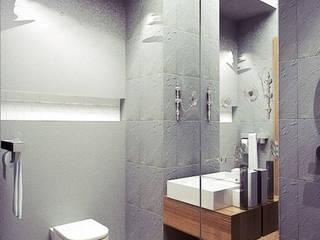 Biel, czerń i drewno w mieszkaniu w Warszawie - Tissu. Nowoczesna łazienka od TISSU Architecture Nowoczesny