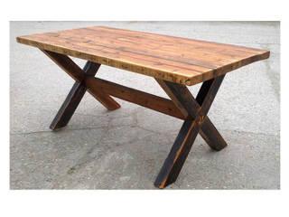 Cross Leg Reclaimed Dining Table:   by Modish Living