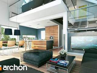 Projekt domu ARCHON+ Dom w laurach (G2P) Nowoczesny salon od ARCHON+ PROJEKTY DOMÓW Nowoczesny