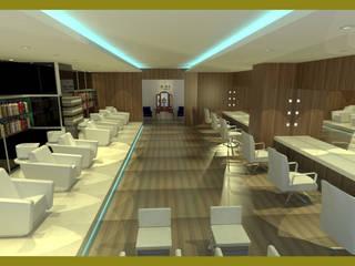 RECEPÇÃO SALÃO BELEZA:   por Rangel & Bonicelli Design de Interiores Bioenergético