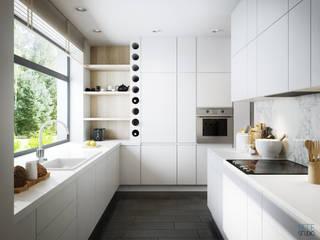 kuchnia w bieli: styl , w kategorii  zaprojektowany przez ATTE STUDIO