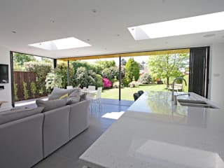 Retractable Glass Walls with SunSeeker UltraSlim Doors on Contemporary Extension Modern living room by SunSeeker Doors Modern