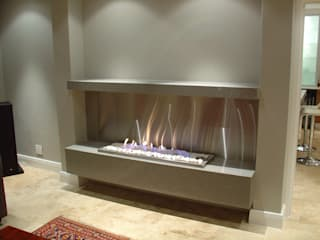 Novent 1200x330mm s/steel drop-in grate white pebbles:   by Hyper Lighting and Fires