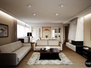 Francuski szyk w domu w Brwinowie - Tissu. Klasyczny salon od TISSU Architecture Klasyczny
