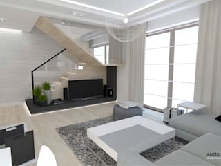 DOM W LEGIONOWIE: styl , w kategorii Salon zaprojektowany przez WNĘTRZNOŚCI Projektowanie wnętrz i mebli