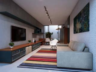 Lozí - Projeto e Obra Salas multimedia de estilo minimalista