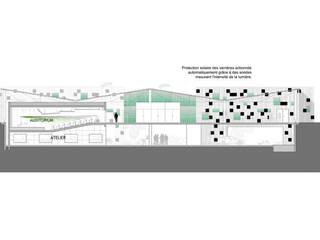 Centre de recherche automobile, Saint-Jean d'Angely (17), 2013 - Concours - 1000m²: Bureau de style de style Moderne par ERIC SANTOS • ARCHITECTURE