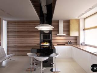 Minimalizm lekko ozdobiony w domu w Nowej Wsi - Tissu. Minimalistyczna kuchnia od TISSU Architecture Minimalistyczny
