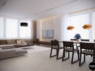Minimalizm lekko ozdobiony w domu w Nowej Wsi - Tissu. Minimalistyczna jadalnia od TISSU Architecture Minimalistyczny