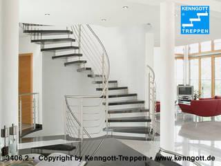 Kenngott-Treppen Stein Moderner Flur, Diele & Treppenhaus von KENNGOTT-TREPPEN Longlife Holz Metall Stein Modern