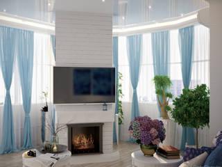 Mediterrane Wohnzimmer von Студия интерьерного дизайна happy.design Mediterran