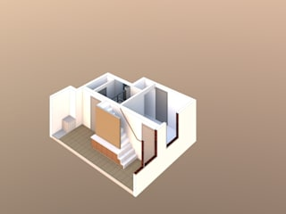 Stair and TV unit design:  Corridor & hallway by Vita Architecture Ltd