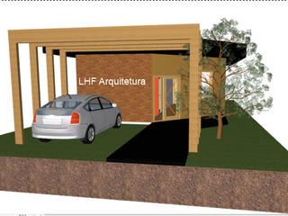 Entrada e garagem vista frontal: Casas  por LHF Arquitetura