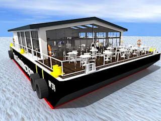 Conversion of Barge to Cafe by Caullystone Architectural Practice
