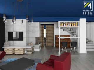 Projekt salonu i jadalni w stylu industrialnym od Kreska. Studio projektowania wnętrz.