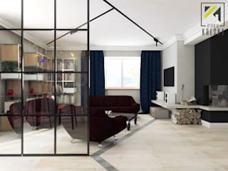 Projekt salonu i jadalni w stylu industrialnym: styl , w kategorii  zaprojektowany przez Kreska. Studio projektowania wnętrz.