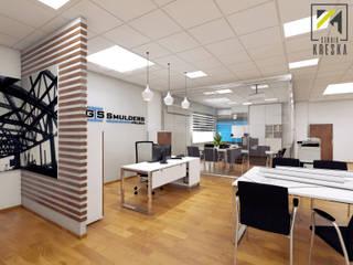 Projekt przestrzeni biurowej od Kreska. Studio projektowania wnętrz.