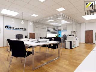 Projekt przestrzeni biurowej: styl , w kategorii  zaprojektowany przez Kreska. Studio projektowania wnętrz.