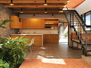 Vintark arquitectura Modern kitchen Bricks Multicolored