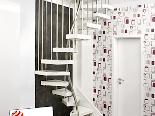 Kenngott-1m2-Treppe Moderner Flur, Diele & Treppenhaus von KENNGOTT-TREPPEN Longlife Holz Metall Stein Modern