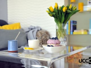 Ława WYWIJAS z przezroczystego jednolitego kawałka plexi UCCOI® od UCCOI® producent mebli i dekoracji z plexi Nowoczesny