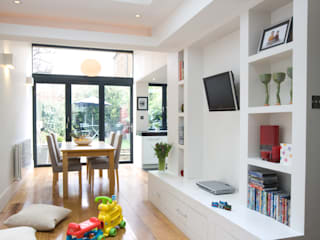 Cozinha aberta para sala Architect Your Home Salas multimédia modernas