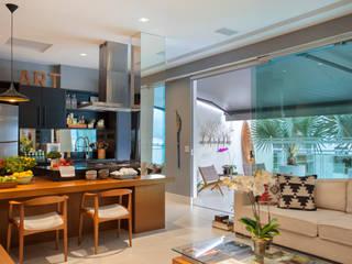 COBERTURA LAGOA RODRIGO DE FREITAS Angela Medrado Arquitetura + Design Cozinhas modernas Madeira Multi colorido