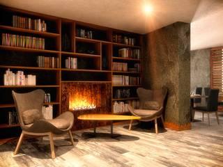 Rendering 3d : Sale Comuni Alberghi Ingresso, Corridoio & Scale in stile moderno di Pasquale De Angelis Moderno