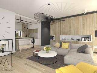 现代客厅設計點子、靈感 & 圖片 根據 SZTYBLEWICZ ARCHITEKCI 現代風